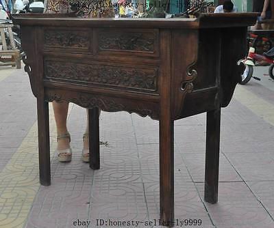 "44"" old chinese Antique Furniture Hand-carved huanghuali wood flower Tables Desk 7"
