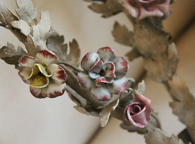 Rare French Tole Porcelain Roses & Old Grey Paint Wall Sconces 2