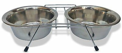 Double Dinner Pet Feeding Bowl Stainless Steel Cat Food Station Water Dish New