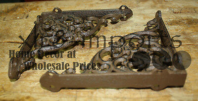 6 Cast Iron Antique Victorian Style Brackets, Garden Braces Shelf Bracket 3