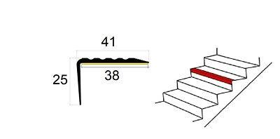 Nez de marche profil d'angle PVC autoadhésif 41x25mm antidérapant 80-180cm 2