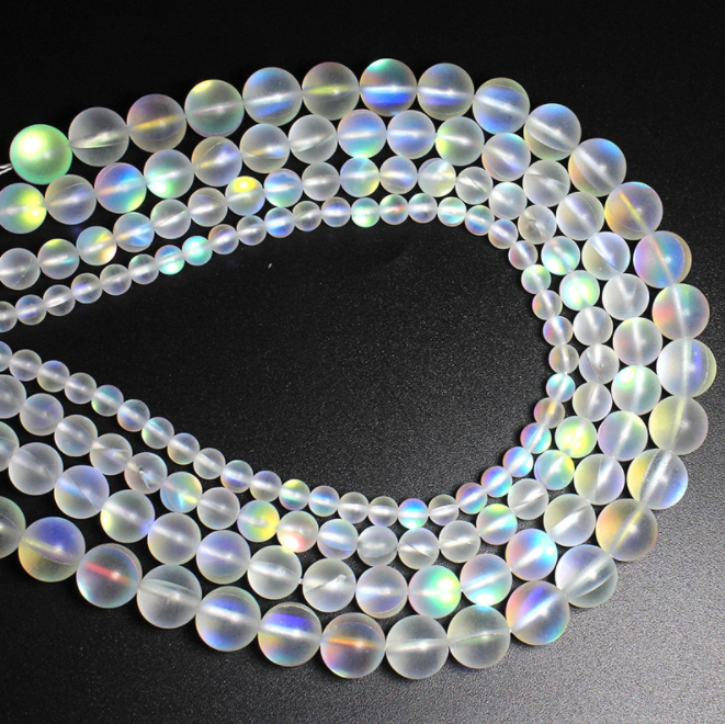 Natural Stone Crystal White Austria Round Loose Beads Moon Jewelry Making 4