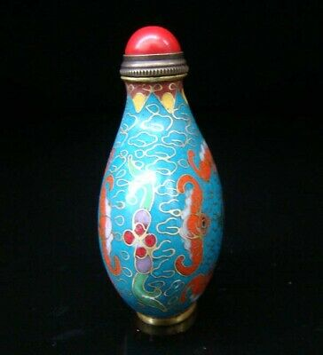 Collectibles 100% Handmade Painting Brass Cloisonne Enamel Snuff Bottles 088 5