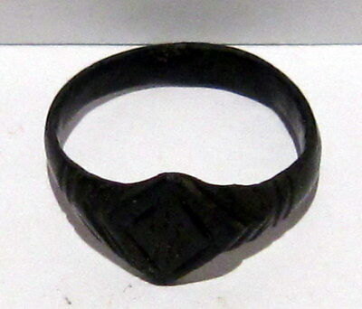 Beautiful Post-Medieval Bronze Ring With Engraving On The Top # 660 7