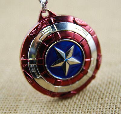 US! The Avengers Captain America Shield Keyring Rotatable Star Alloy Keychain 4