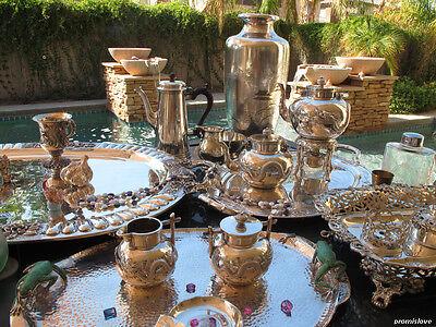 7p OLD RARE BELGIAN TEA COFFEE SET STERLING SILVER LOUIS XIV VERSAILLES POT TRAY 12