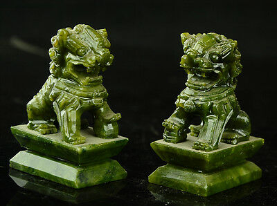 China  Rare A pair of 100%  natural green jade hand-carved statues fo dog lion 7