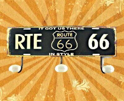 Garderobe 3er Route 66 Wandhaken +Schild Türgarderoben Eisen Vintage Ästhetik1 2