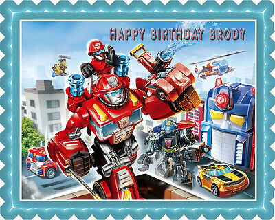 2 Of 5 Transformers Rescue Edible Birthday Cake Topper OR Cupcake Decor