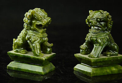 China  Rare A pair of 100%  natural green jade hand-carved statues fo dog lion 2