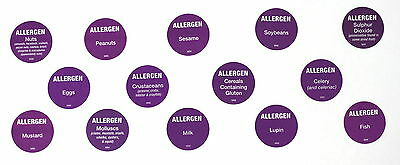 Day dot allergen label stickers to comply with FIC FIR allergy Regulations 2