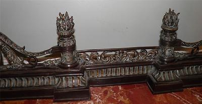 Ornate Bronze Figural Mythological Fireplace Fender Chenet 4