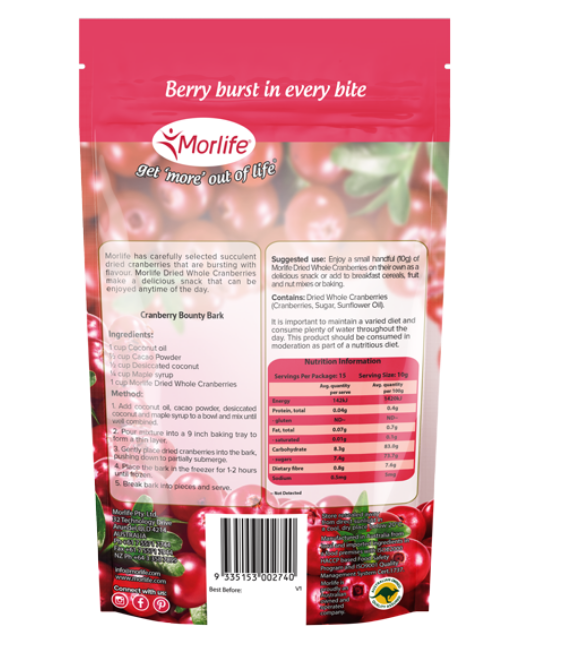 Morlife Dried Cranberries 150g x2 | Dried Fruit | Gluten Free