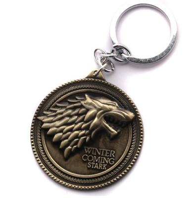Game of Thrones House Stark Head Targaryen Baratheon 3D Metal Keyring Keychain 6