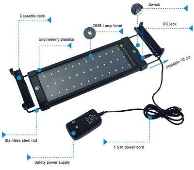 LED Aquarium Light Bar Fish Tank Lighting ZJL-60A 11w 50cm 72 LEDS Power Supply 5