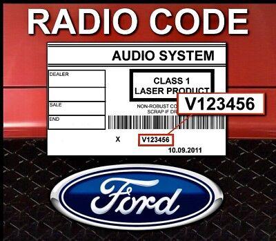 Ford V series Radio Code , 10 min service ,focus, transit, fiesta, V serial 4