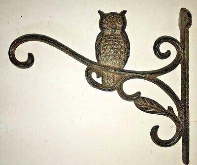 """2 OWL Plant Hanger flower basket holders up to 16"""" pot lantern hook brown bronze 7"""