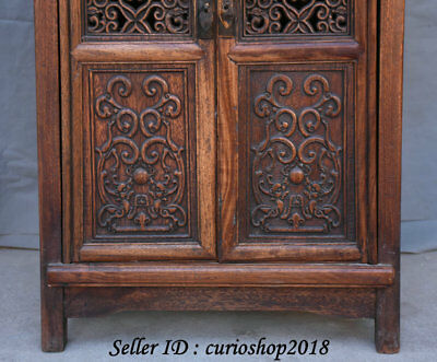 """23.2"""" Old China Huanghuali Wood Dynasty Palace Carving Dragon Cupboard Cabinet 5"""