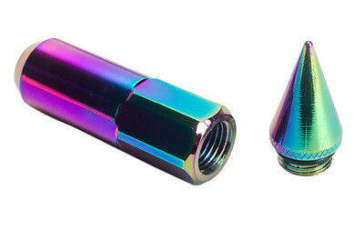 Neo Chrome 20Pcs Aluminum Extended Tuner Lug Nuts For Wheels/rims M12X1.5
