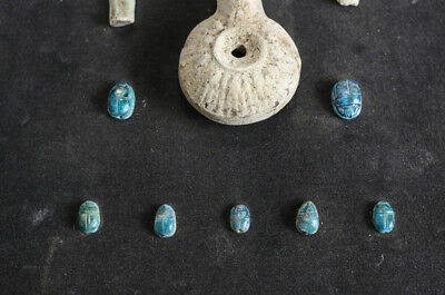 grouping of Archaic Egyptian Artifacts Faience Shabti Scarabs, Pottery Oil Lamp 5
