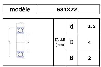 Roulement à Billes Miniature 1,5x4x2mm 681XZZ 1.5*4*2 mm W68/1.5ZZ 2