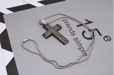 New Gift Unisex's Men Stainless Steel Cross Pendant Black Silver Necklace USA
