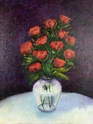 16 X 20 Oil Painting Red Roses In Glass Vase On White Table Against