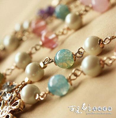 Collier Long Sautoir Chaine Perle Agate Bleu Quartz Rose Trefle Class Retro FUN2