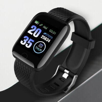 Black Smart Watch Bluetooth Heart Rate Blood Pressure Monitor Fitness Tracker UK 12