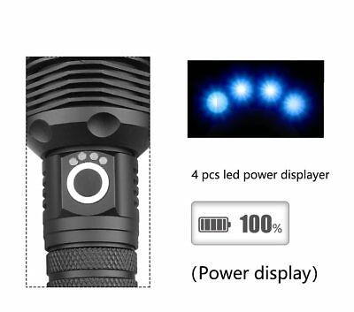 500000 Lumens Zoomable XHP70 LED USB Rechargeable Flashlight Torch Super Bright 7