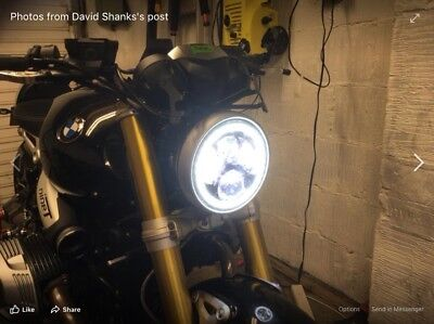 "126 Black 7/"" Motorcycle Headlight Chrome Rim Streetfighter Cafe Racer E-Marked"