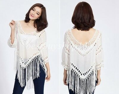 Womens Crochet Fringe Top V Neck 34 Sleeve Bohemian Boho Shirt