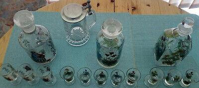 3 Glasflaschen mundgeblasen mit eingeschliffenem Glasstopfen 3,2,6 Trinkgläser 6