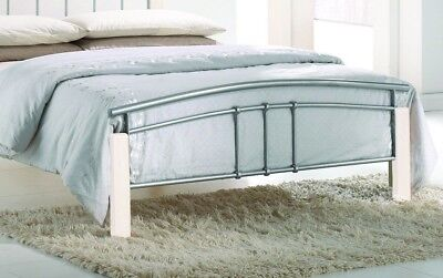 Tetras Silver Metal Bed Frame Modern White Wooden Single Double King Size 5