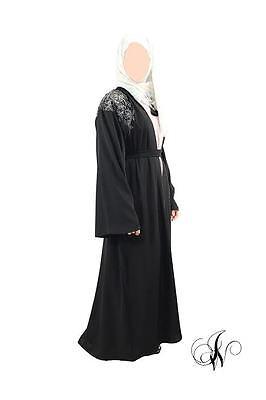 ladies abaya kimono chatiba style farasha dubai jalabeya black 2
