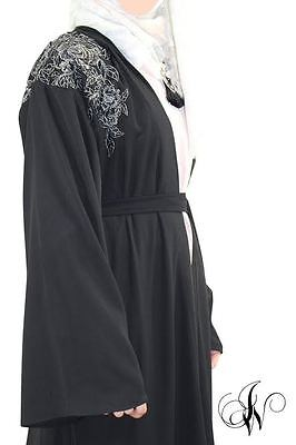 ladies abaya kimono chatiba style farasha dubai jalabeya black 3