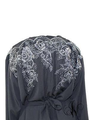 ladies abaya kimono chatiba style farasha dubai jalabeya black 4