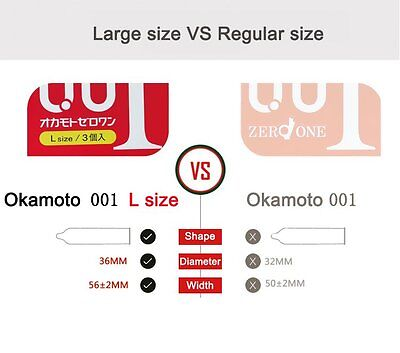 Ultra Sensitive Condom Okamoto 001 0.01 Zero One Japanese Thinnest Size Large L