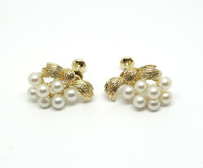 4b7dccf7f ... Rare Vintage MIKIMOTO Cluster Akoya Pearl 14K Gold Screw On Non Pierced  Earrings 5