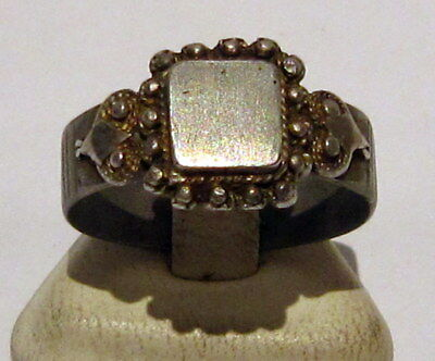 Amazing Medieval Or Post-Medieval Silver Ring With Gold Plated # 81B 2