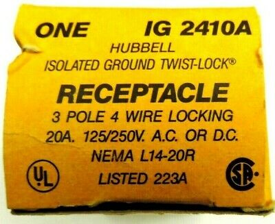 Hubbell Ig2410 L14-20R Twist-Lock Receptacle 3P 4W Isolated Ground 20A 5