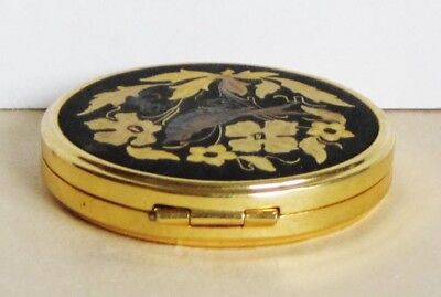 Vintage Russian Metal Powder Box With Mirror Etched Flowers & Bird Gold Tone 9