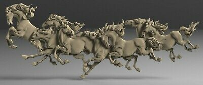 3D STL Model # HORSES IN MOTION # for CNC Aspire Carving 3D Printer Engraving 4