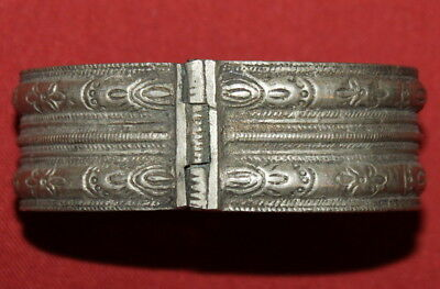 Antique Greek  Engraved Handcrafted Silver Folk  Cuff Bracelet