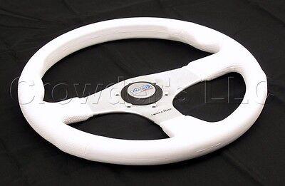 Silver Black Polyurethane Sport Line 350mm Combi Marine Boat Steering Wheel
