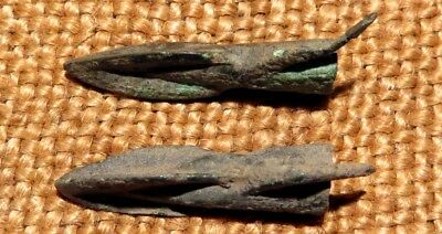 Scythian- Sarmatia Bronze 2 pcs.Old Original Ancient Barbed Arrowhea 7-4 BC #2 2
