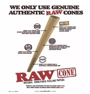 Raw Classic King Size Cone AUTHENTIC pre Rolled Cone With Filter  (100 Packs) 2