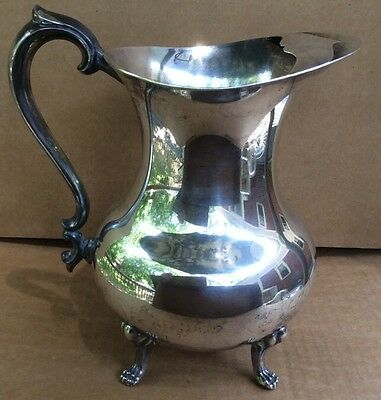 VINTAGE THE SHEFFIELD SILVER CO  FOOTED WATER PITCHER w/ ICE LIP ENGRAVED MONO 5