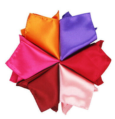 10//50Pcs Solid Retro Mens Handkerchief Tuxedo Pocket Square Wedding Silk  Hanky