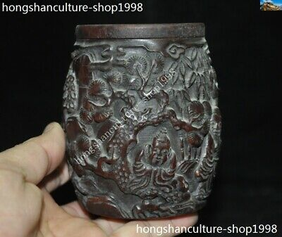 Marked Chinese Dynasty Ox horn Carved Pine tree Old Man Drum shape Box Boxes 5